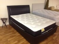 DOUBLE BLACK LEATHER OTTOMAN BED COMPLETE WITH ORTHO MATTRESS
