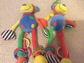 2 x jellycat colourful monkeys