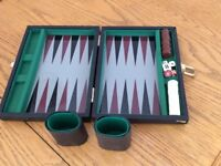 Travel size backgammon set