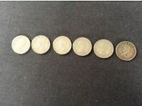 6 x 2 Shilling Coins