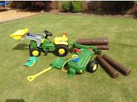 John deer tractor and trailer set with logs+ kids working water bowser+shovel and John deer cap.
