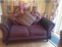 2 aubergine matching sofas - fabulous condition