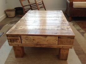 Upcycled coffee table, rustic, extendable legs optional