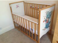 Cot, good condition with new mattress, mattress protector and 2 fitted sheets