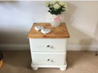 2 drawer pine bedside table
