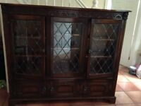 Bevan Funnell Oak Collection 3 Door Civic Bookcase 138x162x34cms Solid Oak with leaded glass doors