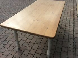 6ft x 3 ft pine dining table with cream painted legs