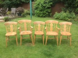 Wooden dining room chairs (x5)