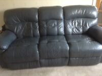 3 & 2 seater recliner leather sofas dark blue