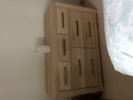Bedroom long chest of drawers and bedside table