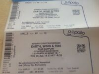 2 Earth Wind and Fire tickets available O2 Apollo Manchester Thursday night plus support start 19.30