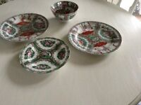 Chinese porcelain collectors plates and bowl.