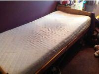 Pine single bed and memory foam mattress