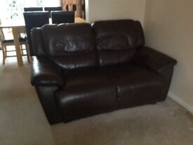 Brown Leather 2 Seat Sofa
