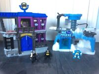 Imaginext bat man Gotham City and Mr Freeze play sets
