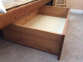 2 pine under bed drawers