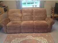 3 piece suite, light brown, settee and 2 armchairs.