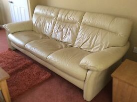 Leather cream three seater sofa