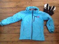 Girl's ski jacket and gloves