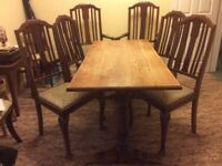 Solid wood dining table 1.5m x 70cm and 4 dining chairs plus 2 matching carvers