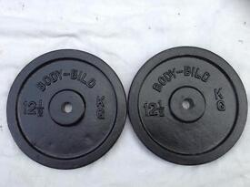 2 x 12.5kg Bodybild Standard Cast Iron Weights