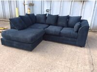 Black Jumbo Cord Corner Sofa with Chaise Effect - New - £299 Including Free Local Delivery