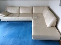 Cream Leather Corner Sofa & Footstool