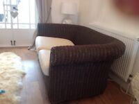 John Lewis wicker conservatory sofa settee