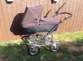 Silver cross sleepover Pram buggy with rain cover cosytoes mattress shopping tray clean condition