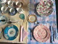 50 vintage mismatched tea plates.