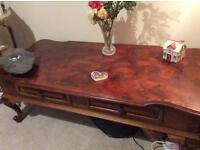 Long dark wood table with 2 drawers. To be collected