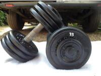 2 x 33kg Bodysculpture Cast Iron Dumbbell Weights