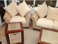 "Contemporary ""Cane Collection"" conservatory set,includes settee,arm chair,coffee and side table"