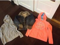 PRINCIPLES, DENIM JACKET, FUR COLLAR & CUFFS, + 2 HOODED TOPS (suit girl 12/13)