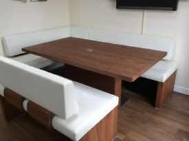 Housing Units Floating Solid Walnut Table and bench set