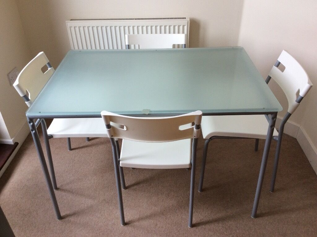 Ikea lyrestad glass table and 4 chairs in gloucester for Ikea glass table tops