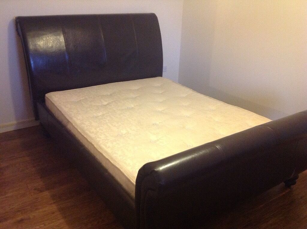 Brown Leather Sleigh Bed And Slumberland Mattress King Size Vgc