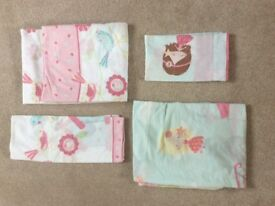 2 pairs of girls cot bed bedding sets