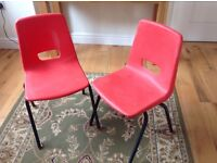 Children plastic school chairs red