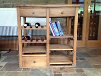 Floor standing solid wood wine rack with drawers and shelves