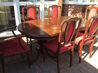 Mahogany table and 6 chairs, could deliver