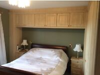 Complete bedroom: excellent double wardrobes, 3 over-bed cupboards, 2 bedside and one 5 drawer chest