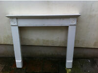 Simple wooden Fire surround - complete, painted. Kingswood.