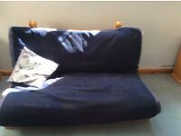 DOUBLE FUTON WITH DARK BLUE COVER - excellent condition and very comfortable