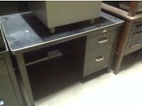 Vintage Retro Industrial Art Metal Single Pedestal Desk