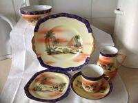 Vintage very unusual tea set x 6 milk and sugar serving plate