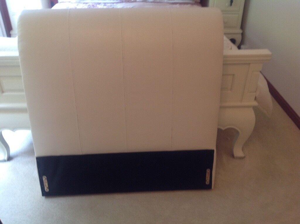 Cream faux leather single bedframe