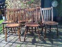 Antique elm chairs set of six