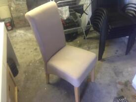 4 cream fabric chairs