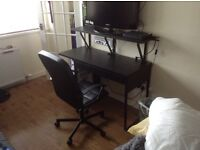 IKEA desk, chair and shelf. Black brown colour